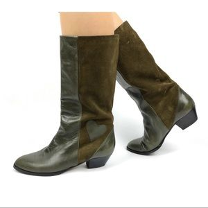 1970s Italian green heart 💚 leather + suede boots